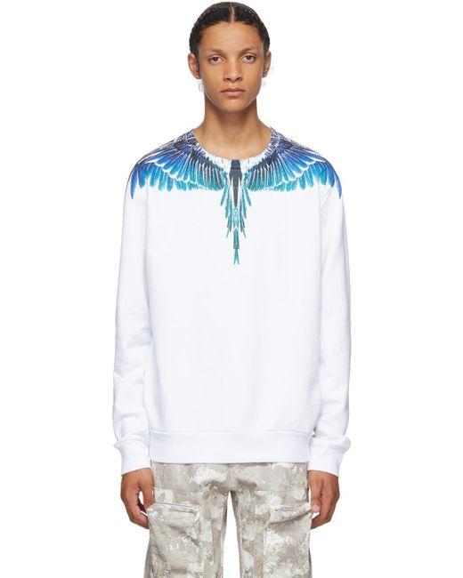 メンズ Marcelo Burlon ホワイト & ブルー Wings スウェットシャツ Blue