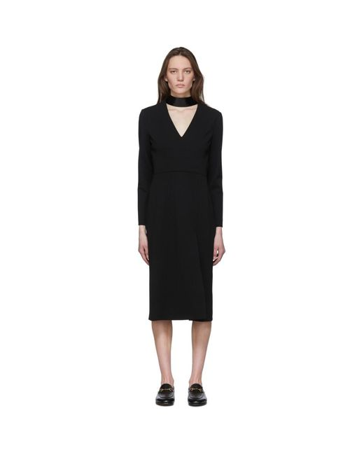 Gucci ブラック パテント カラー ロング スリーブ ドレス Black