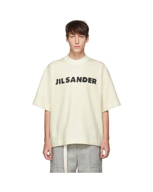 メンズ Jil Sander オフホワイト ウール ボクシー T シャツ White