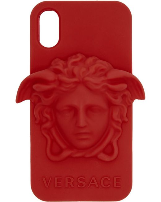 メンズ Versace レッド メドゥーサ Iphone X ケース Red