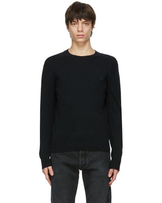メンズ Acne ブラック クルーネック セーター Black