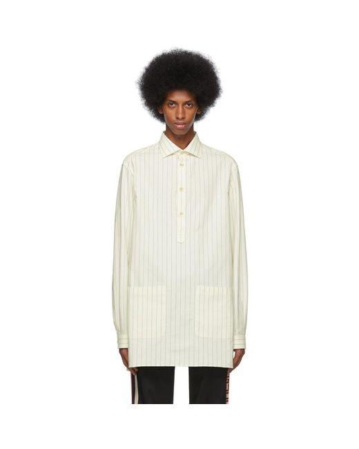 メンズ Gucci オフホワイト And ブルー オーバーサイズ ストライプ シャツ White