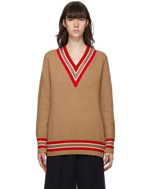 Burberry ブラウン Reese V ネック セーター Multicolor