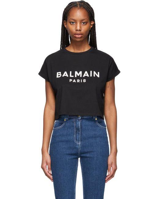 Balmain ブラック クロップド ロゴ T シャツ Black