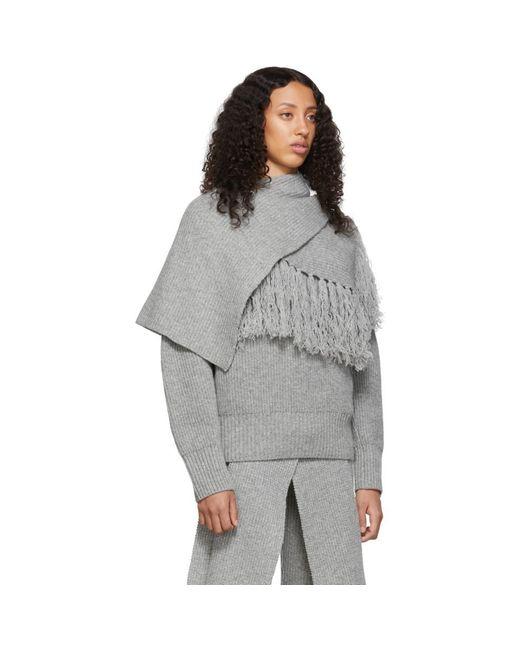 Pull gris Scarf Sacai en coloris Gray