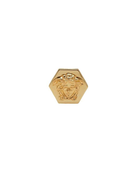 Versace - Metallic Gold Hexagonal Medusa And Greek Key Ring for Men - Lyst