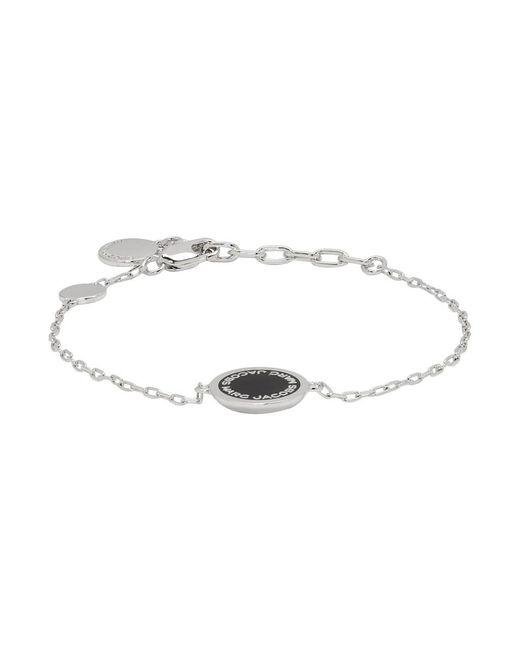 Marc Jacobs - Metallic Silver Enamel Logo Disc Bracelet - Lyst
