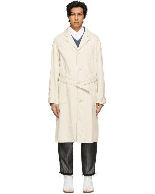 メンズ Maison Margiela オフホワイト トレンチ コート White