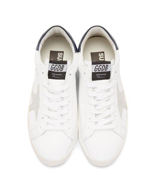 メンズ Golden Goose Deluxe Brand ホワイト And ネイビー スーパースター スニーカー White