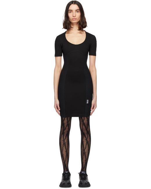 Versace Jeans ブラック メッシュ ボディコン ドレス Black