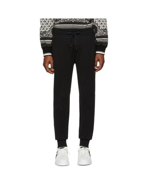 メンズ Dolce & Gabbana ブラック ロゴ プレート スウェットパンツ Black