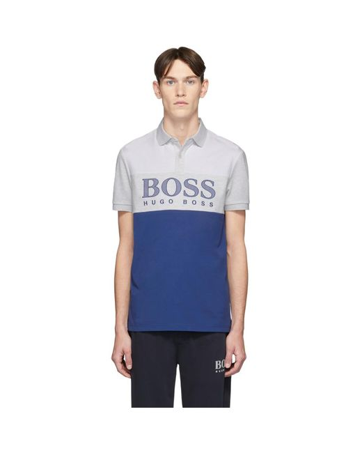 メンズ BOSS by Hugo Boss ブルー Pavel ポロ Blue
