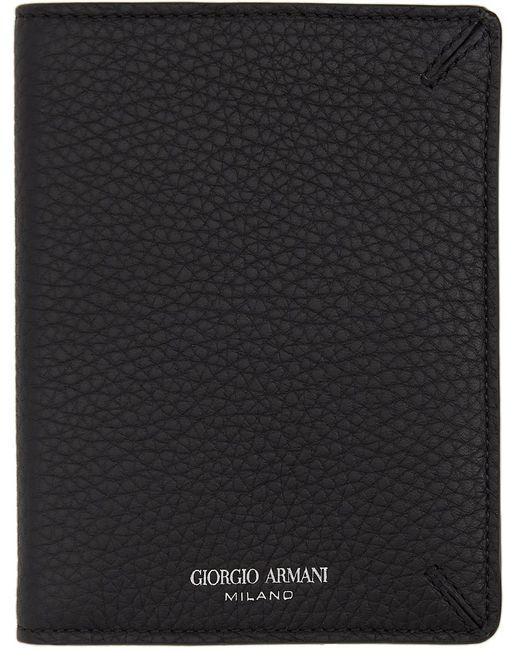メンズ Giorgio Armani ブラック パスポート ホルダー Black