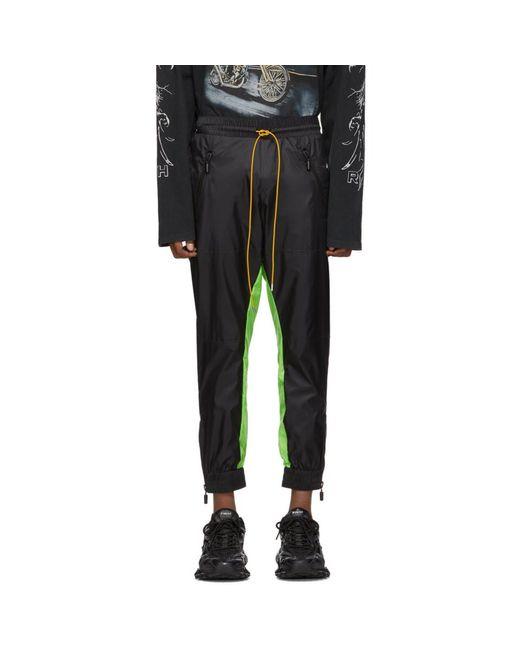 メンズ Rhude ブラック And グリーン フライト スーツ トラック パンツ Black