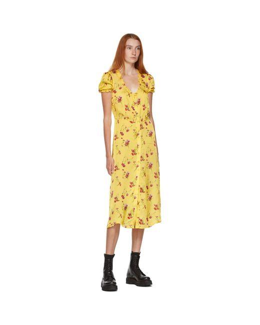 R13 イエロー フローラル ミッドレングス ドレス Yellow