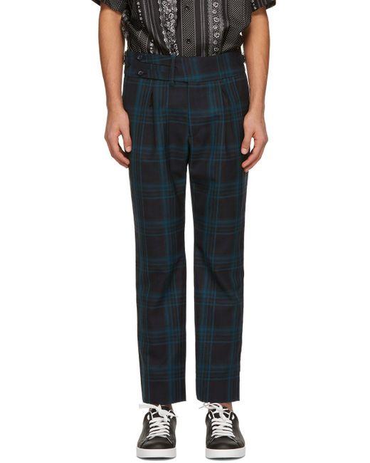 メンズ Dolce & Gabbana グリーン & ネイビー チェック トラウザーズ Blue