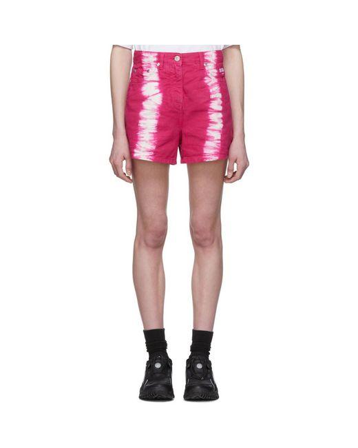 MSGM ホワイト グラフィック クロップド T シャツ Pink
