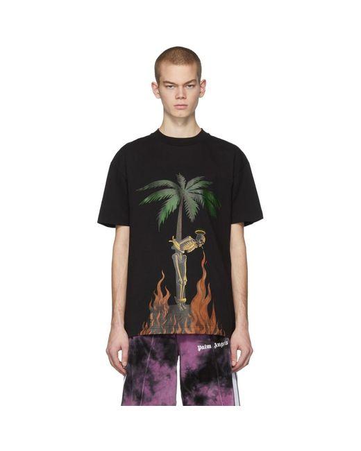 メンズ Palm Angels ブラック バーニング スケルトン T シャツ Black