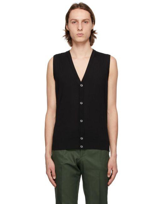 メンズ Isaia ブラック Sweater ベスト Black