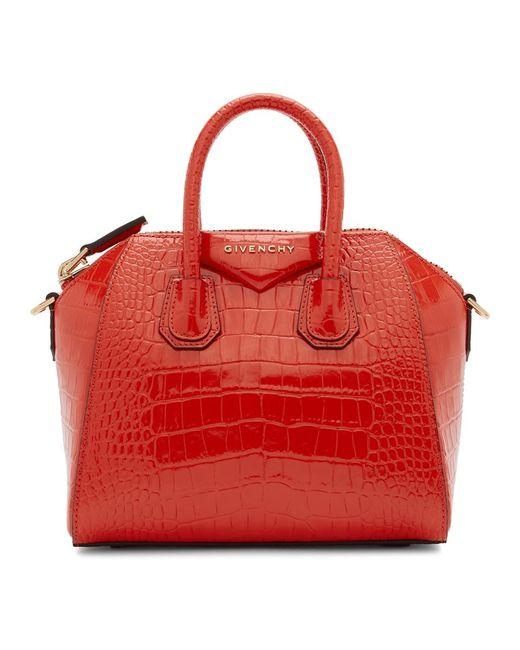 Givenchy レッド クロコ ミニ アンティゴナ バッグ Red