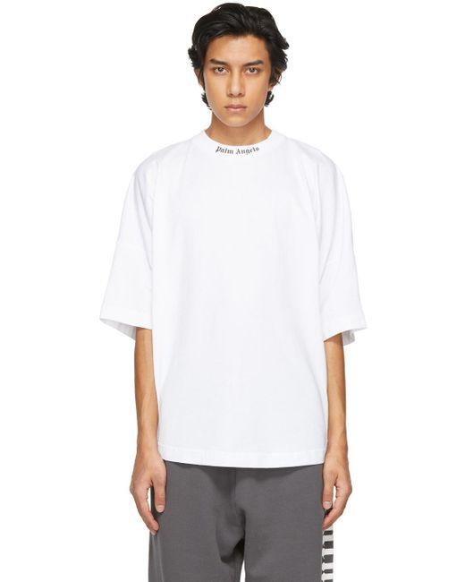 メンズ Palm Angels ホワイト ダブル ロゴ T シャツ White