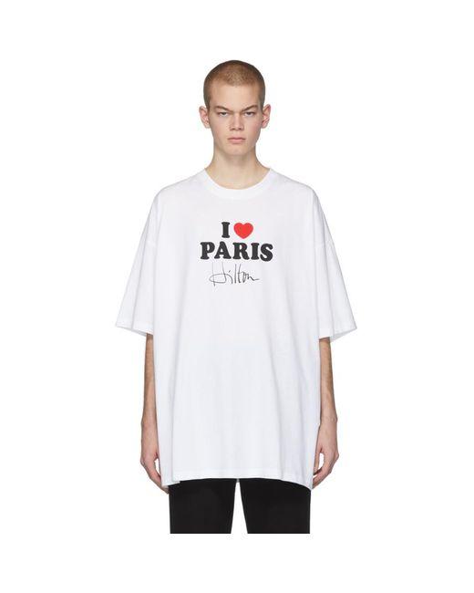 メンズ Vetements ホワイト I Love Paris T シャツ White
