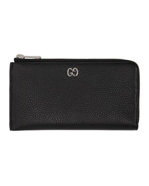 Gucci Black GG Signature Zip Wallet for men