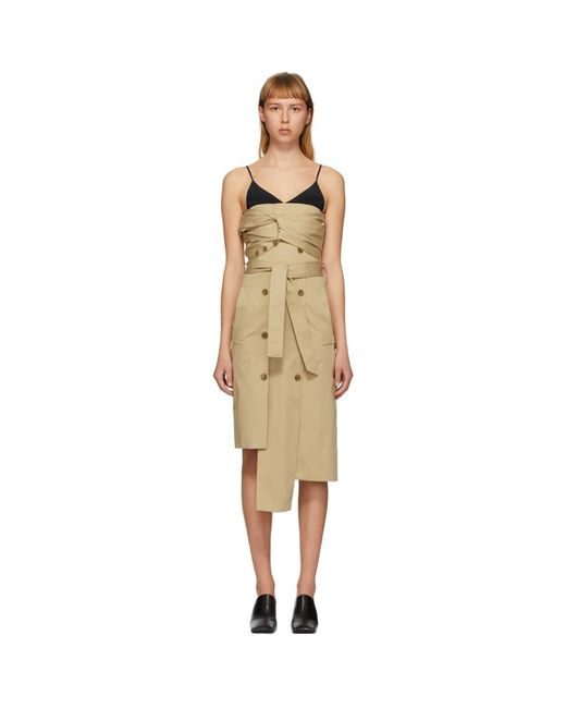 ROKH ベージュ ツイスト トレンチ ドレス Natural