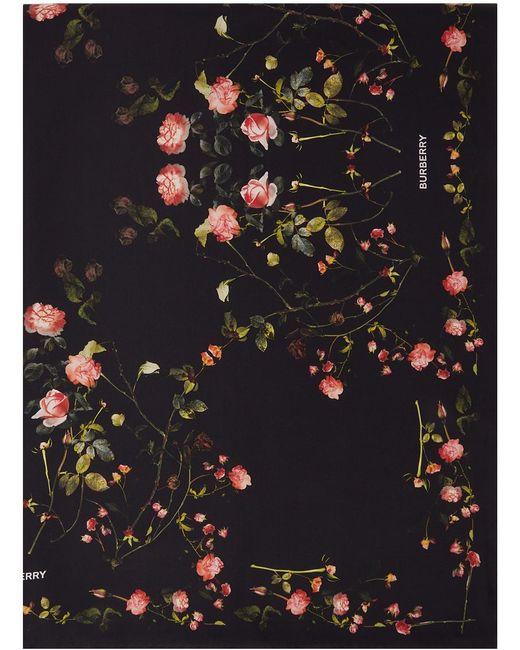 メンズ Burberry ブラック シルク フローラル スカーフ Black