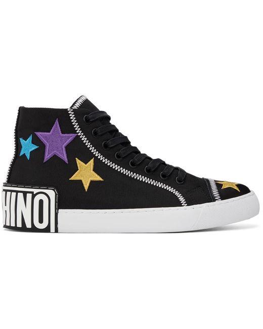 メンズ Moschino ブラック Stars ハイカット スニーカー Black