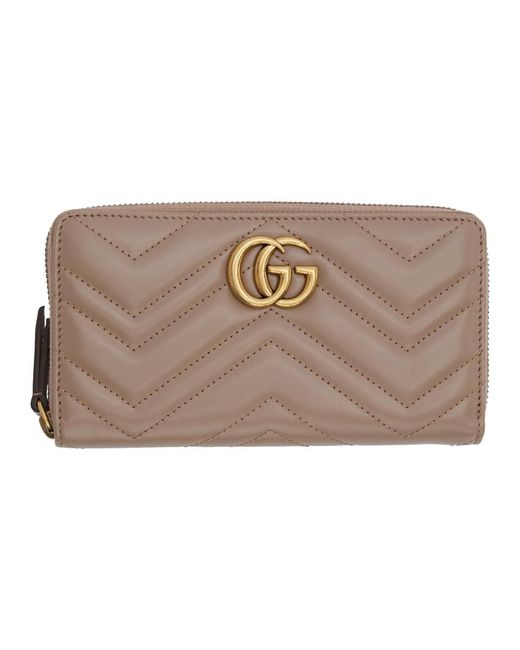 Gucci Natural Pink GG Marmont Continental Wallet