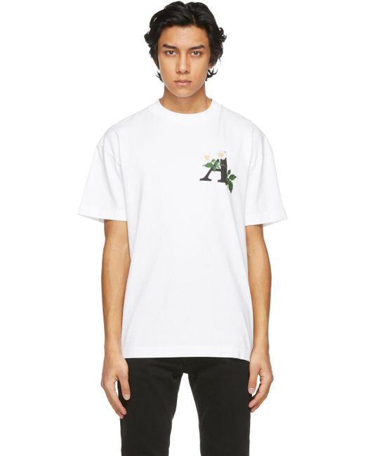 メンズ Palm Angels ホワイト Daisy ロゴ T シャツ White