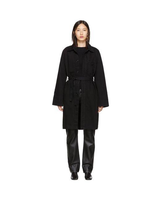 Lemaire Black Long Overshirt Coat