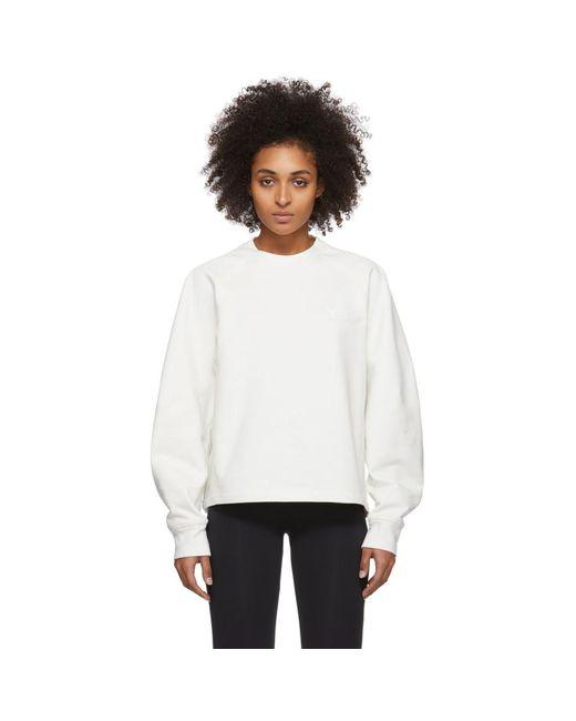 Y-3 ホワイト ロゴ クルーネック スウェットシャツ White