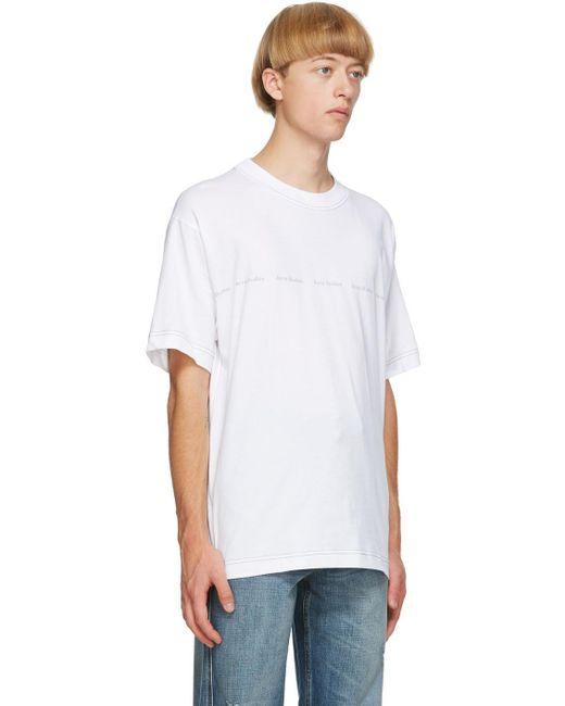 メンズ Acne ホワイト ロゴ プリント T シャツ White