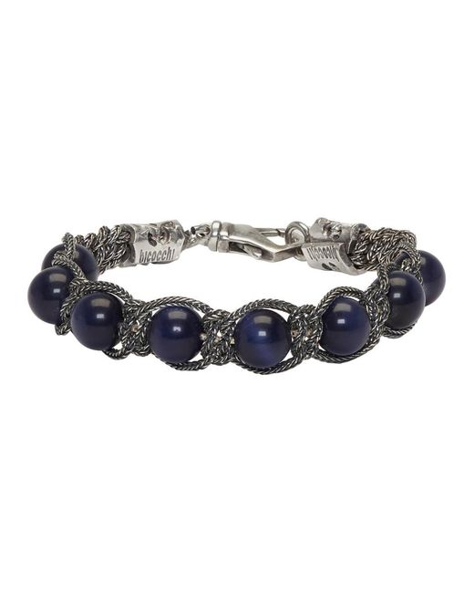 Emanuele Bicocchi - Silver And Blue Beaded Bracelet for Men - Lyst