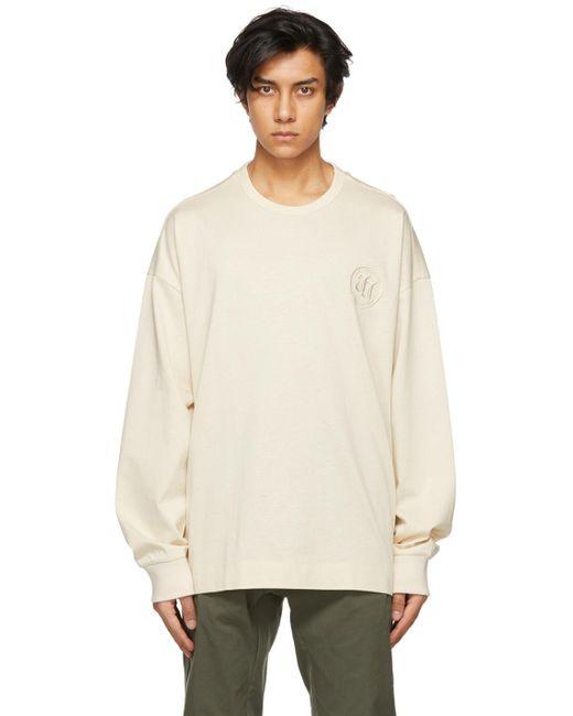 メンズ Juun.J オフホワイト Embroidered Circle ロゴ ロング スリーブ T シャツ White