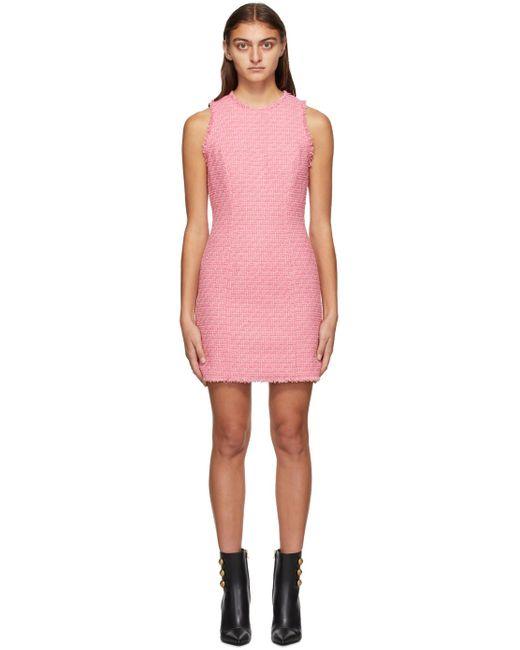 Balmain ピンク ツイード ノースリーブ ドレス Pink