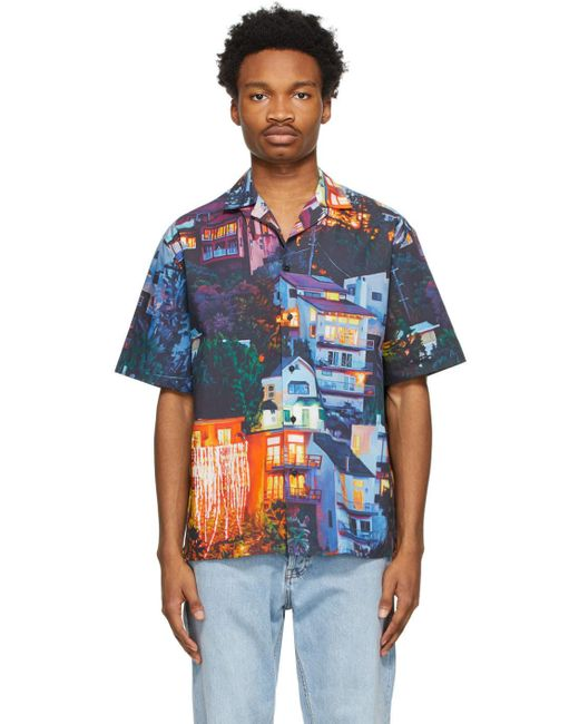 MSGM Blue Multicolor Seth Armstrong Edition Graphic Short Sleeve Shirt for men
