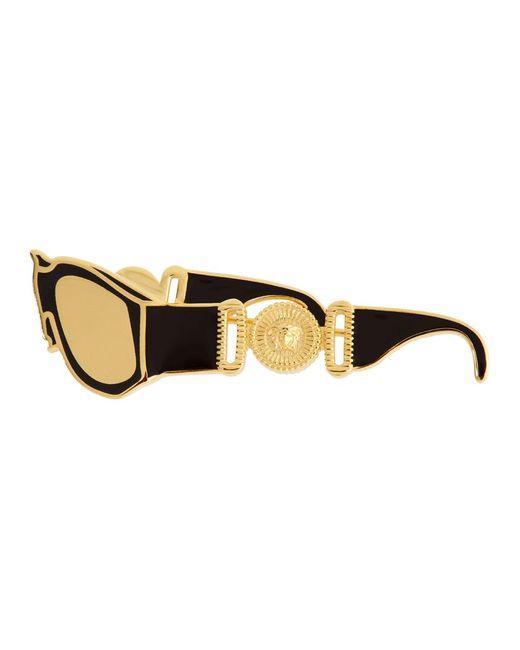 メンズ Versace ブラック And ゴールド サングラス ブローチ Metallic
