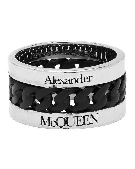 メンズ Alexander McQueen シルバー And ブラック チェーン リング Black