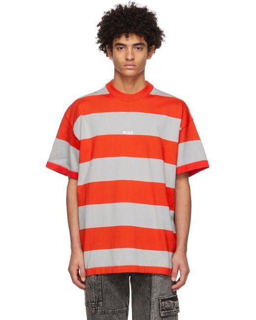 メンズ MSGM レッド & グレー ストライプ ロゴ T シャツ Red