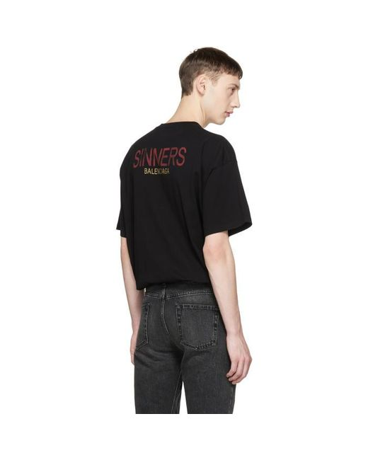 Balenciaga black oversized sinners t shirt in black for for Balenciaga t shirt red