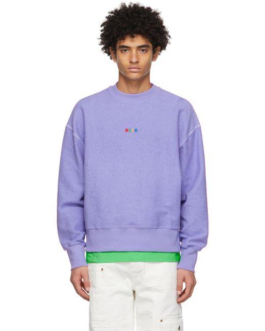 メンズ MSGM パープル ロゴ スウェットシャツ Purple