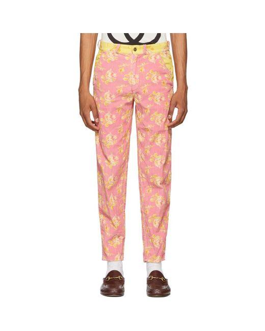 メンズ Gucci ピンク And イエロー プリント トラウザーズ Pink