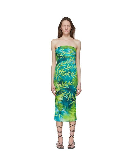 Versace グリーン ジャングル プリント ドレス Green