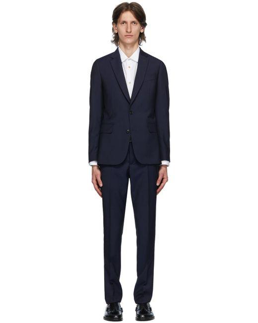 メンズ Paul Smith ネイビー ウール モヘア スーツ Blue