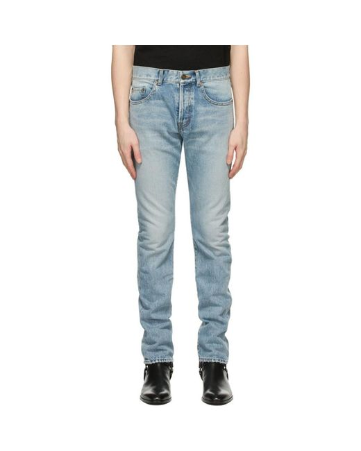メンズ Saint Laurent ブルー スリムフィット ジーンズ Blue