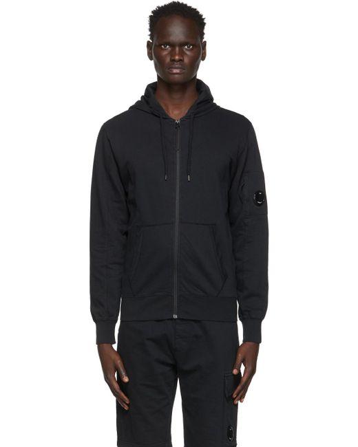 メンズ C P Company ブラック Garment-dyed ジップ フーディ Black