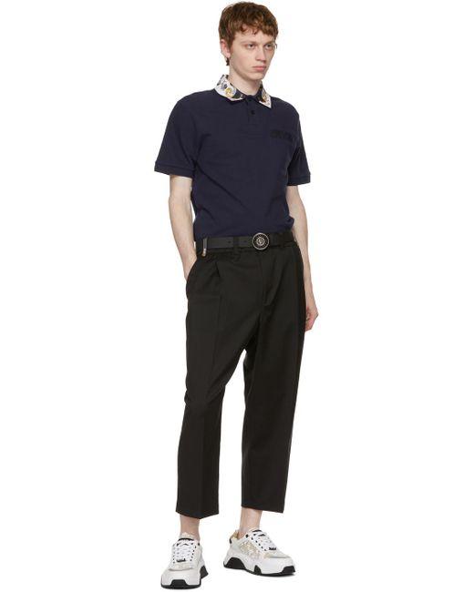 メンズ Versace Jeans ブラック ロゴ バックル ベルト Black